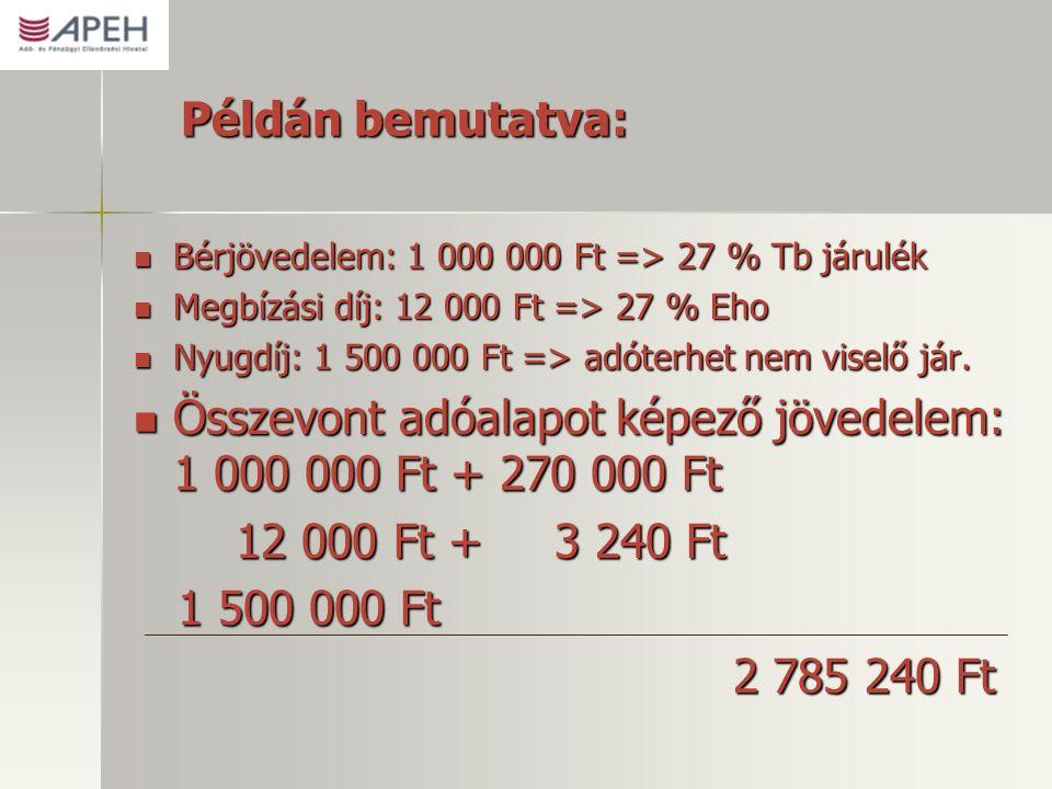 Példán bemutatva: Bérjövedelem: 1 000 000 Ft => 27 % Tb járulék Bérjövedelem: 1 000 000 Ft => 27 % Tb járulék Megbízási díj: 12 000 Ft => 27 % Eho Megbízási díj: 12 000 Ft => 27 % Eho Nyugdíj: 1 500 000 Ft => adóterhet nem viselő jár.