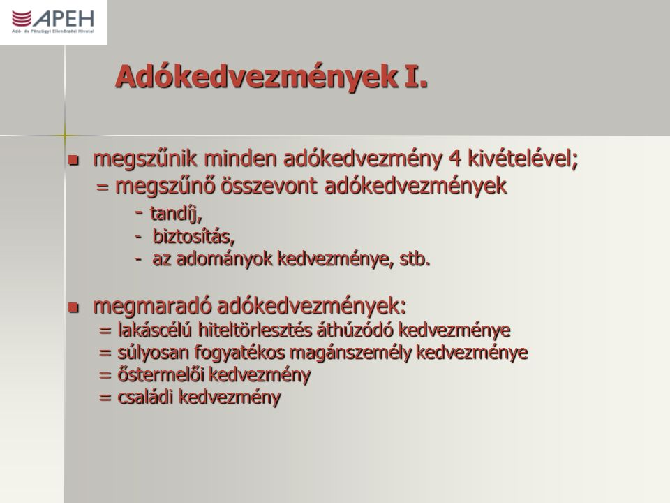 Adókedvezmények I.