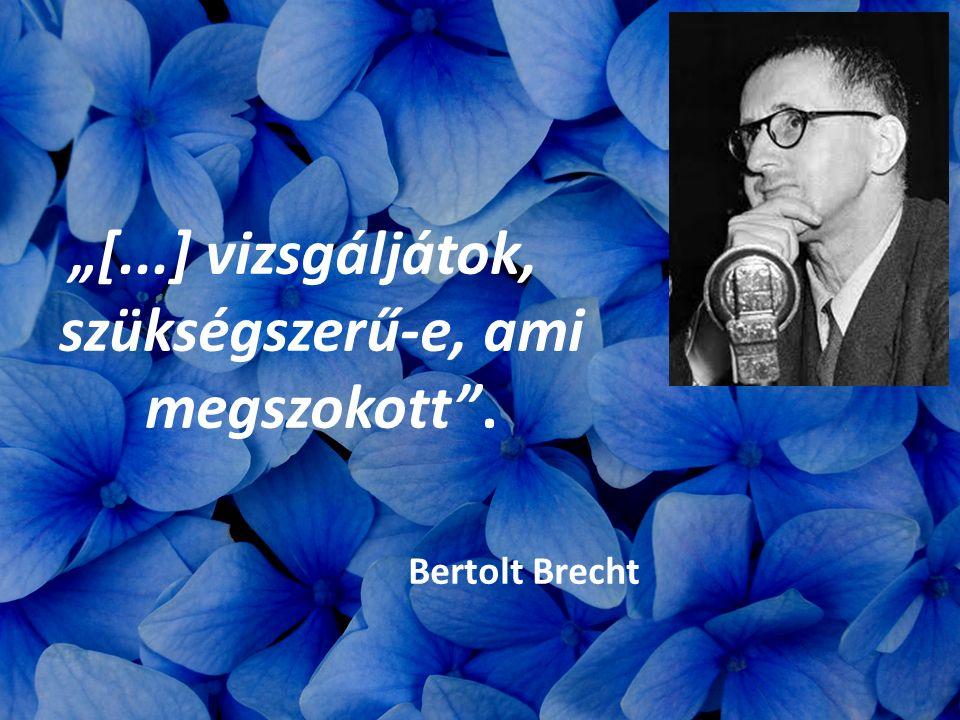 """""""[...] vizsgáljátok, szükségszerű-e, ami megszokott"""". Bertolt Brecht"""
