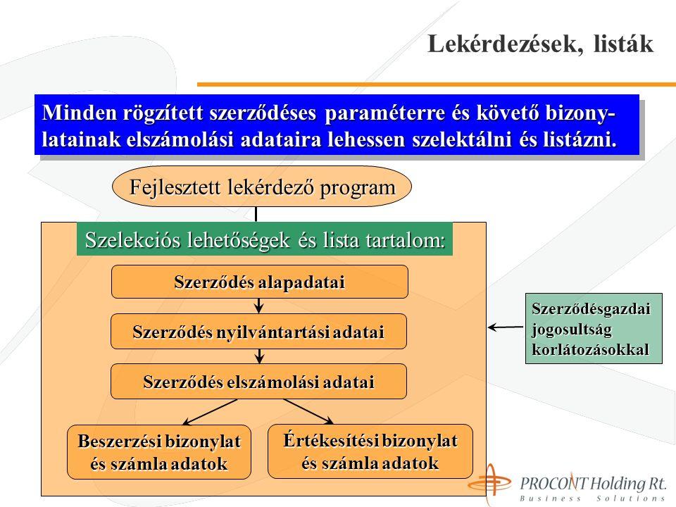 Lekérdezések, listák Fejlesztett lekérdező program Szelekciós lehetőségek és lista tartalom: Beszerzési bizonylat és számla adatok Értékesítési bizonylat és számla adatok Szerződés alapadatai Szerződésgazdai jogosultság korlátozásokkal Minden rögzített szerződéses paraméterre és követő bizony- latainak elszámolási adataira lehessen szelektálni és listázni.