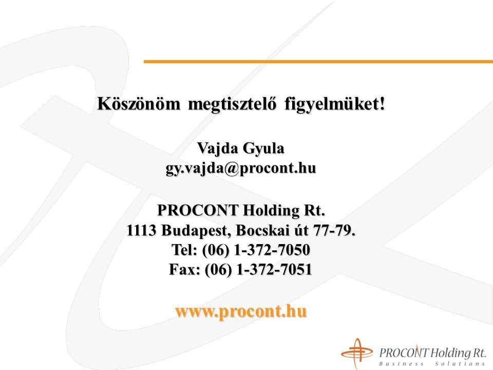 Köszönöm megtisztelő figyelmüket. Vajda Gyula gy.vajda@procont.hu PROCONT Holding Rt.