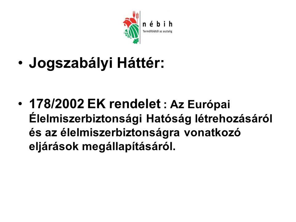 Jogszabályi Háttér: 178/2002 EK rendelet : Az Európai Élelmiszerbiztonsági Hatóság létrehozásáról és az élelmiszerbiztonságra vonatkozó eljárások megállapításáról.