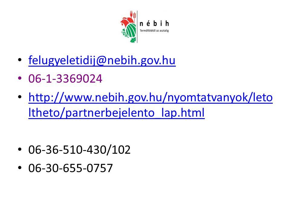 felugyeletidij@nebih.gov.hu 06-1-3369024 http://www.nebih.gov.hu/nyomtatvanyok/leto ltheto/partnerbejelento_lap.html http://www.nebih.gov.hu/nyomtatvanyok/leto ltheto/partnerbejelento_lap.html 06-36-510-430/102 06-30-655-0757