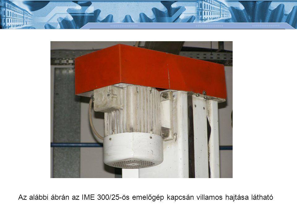Az alábbi ábrán az IME 300/25-ös emelőgép kapcsán villamos hajtása látható