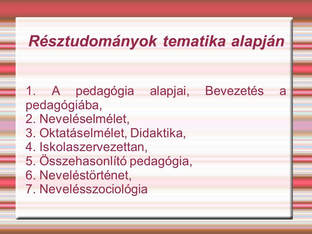 Résztudományok tematika alapján 1. A pedagógia alapjai, Bevezetés a pedagógiába, 2.