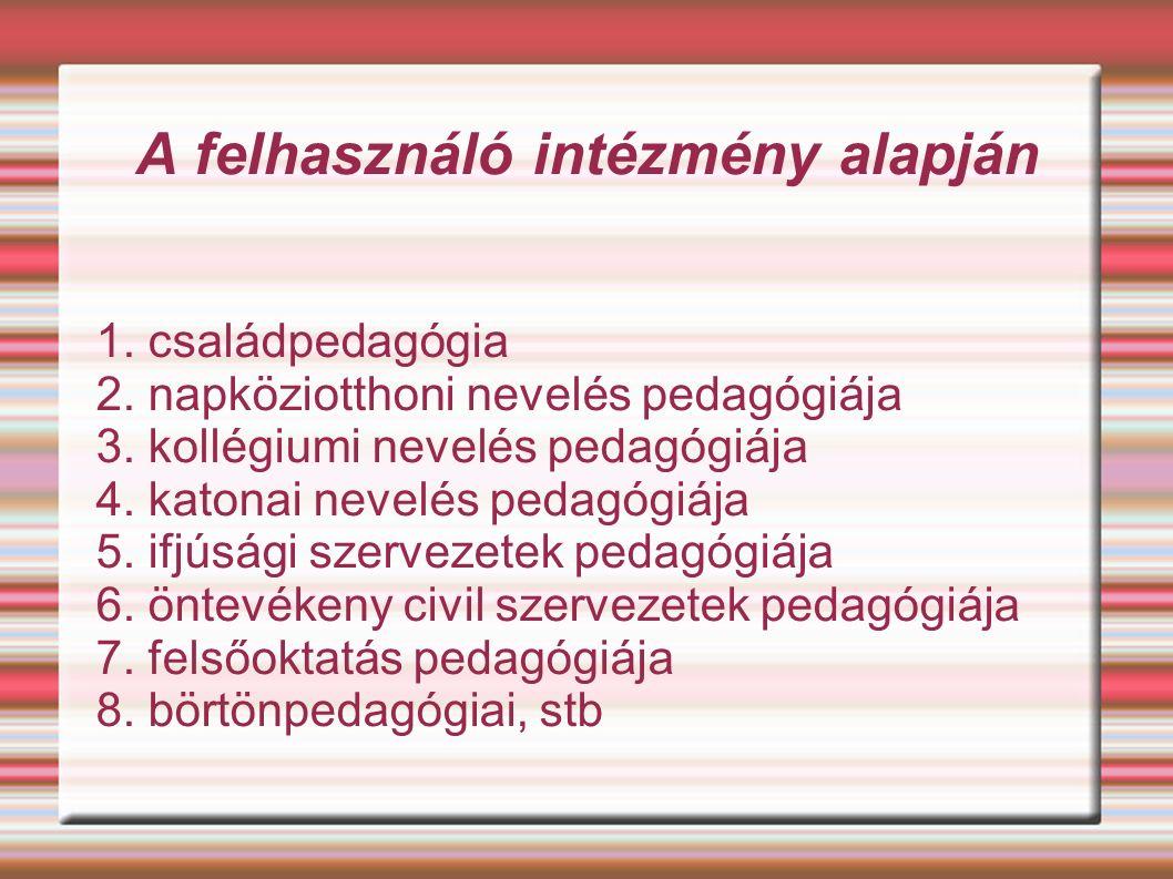 A felhasználó intézmény alapján 1. családpedagógia 2.