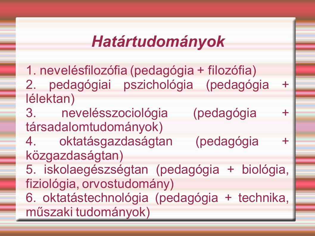 Határtudományok 1. nevelésfilozófia (pedagógia + filozófia) 2.