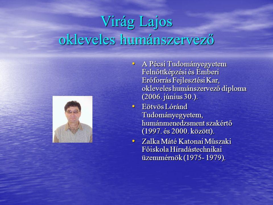 Virág Lajos okleveles humánszervező A Pécsi Tudományegyetem Felnőttképzési és Emberi Erőforrás Fejlesztési Kar, okleveles humánszervező diploma (2006.