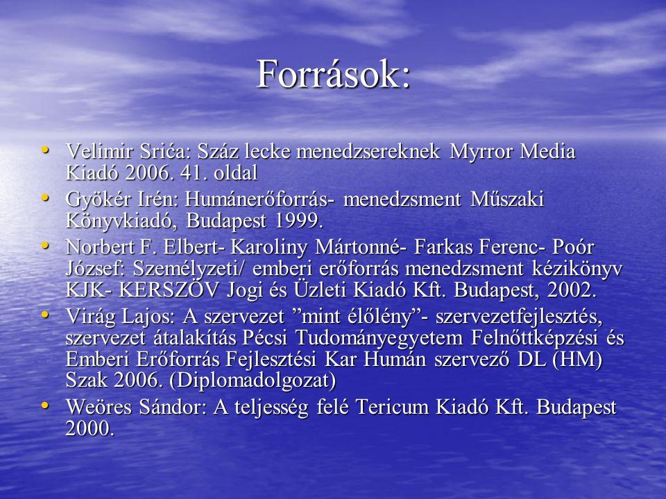 Források: Velimir Srića: Száz lecke menedzsereknek Myrror Media Kiadó 2006. 41. oldal Velimir Srića: Száz lecke menedzsereknek Myrror Media Kiadó 2006