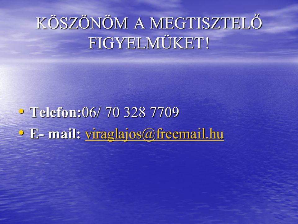 KÖSZÖNÖM A MEGTISZTELŐ FIGYELMÜKET! Telefon:06/ 70 328 7709 Telefon:06/ 70 328 7709 E- mail: viraglajos@freemail.hu E- mail: viraglajos@freemail.huvir