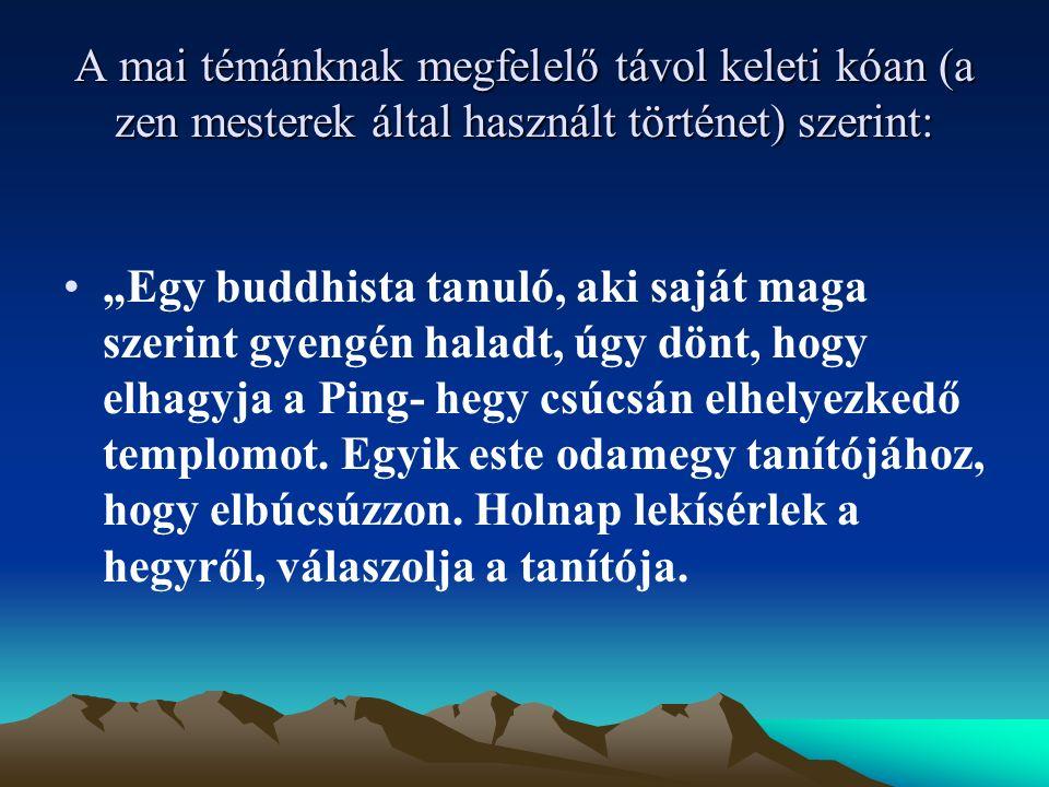 """A mai témánknak megfelelő távol keleti kóan (a zen mesterek által használt történet) szerint: """"Egy buddhista tanuló, aki saját maga szerint gyengén haladt, úgy dönt, hogy elhagyja a Ping- hegy csúcsán elhelyezkedő templomot."""
