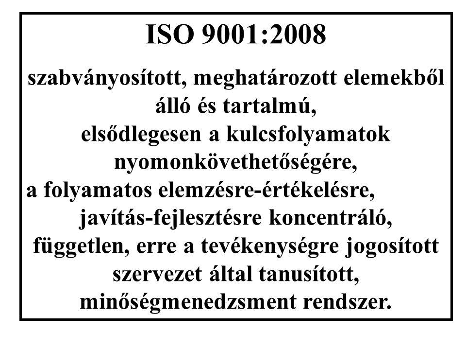 ISO 9001:2008 szabványosított, meghatározott elemekből álló és tartalmú, elsődlegesen a kulcsfolyamatok nyomonkövethetőségére, a folyamatos elemzésre-értékelésre, javítás-fejlesztésre koncentráló, független, erre a tevékenységre jogosított szervezet által tanusított, minőségmenedzsment rendszer.