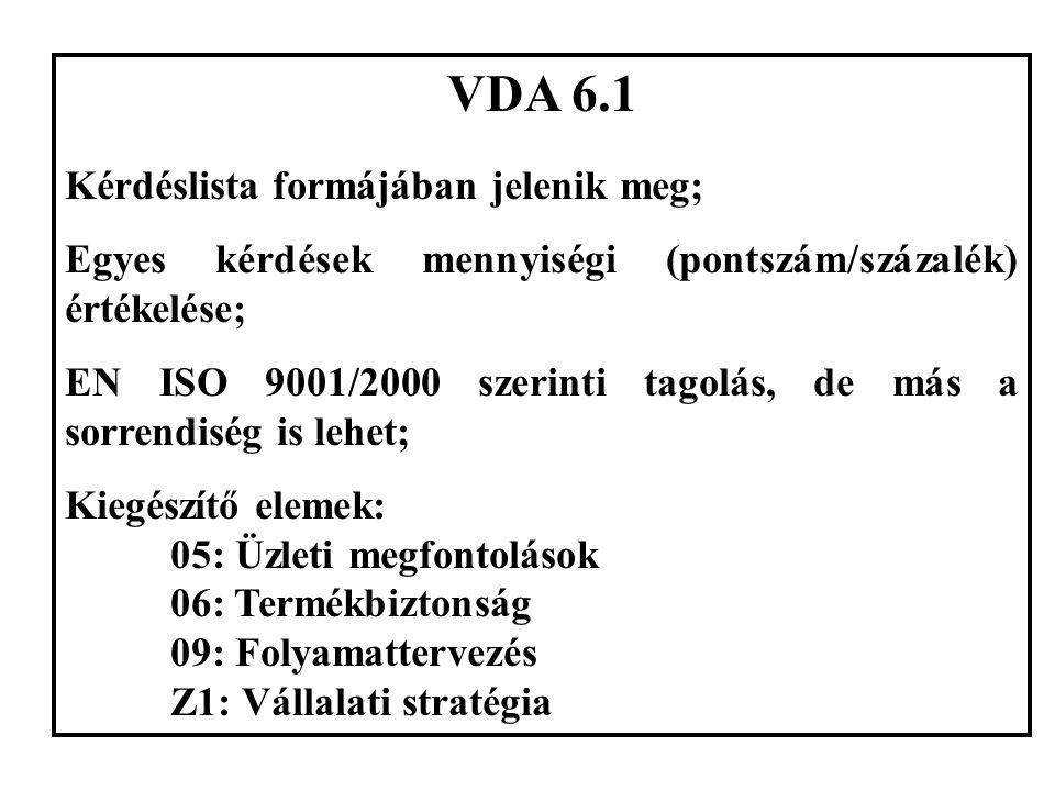 VDA 6.1 Kérdéslista formájában jelenik meg; Egyes kérdések mennyiségi (pontszám/százalék) értékelése; EN ISO 9001/2000 szerinti tagolás, de más a sorrendiség is lehet; Kiegészítő elemek: 05: Üzleti megfontolások 06: Termékbiztonság 09: Folyamattervezés Z1: Vállalati stratégia