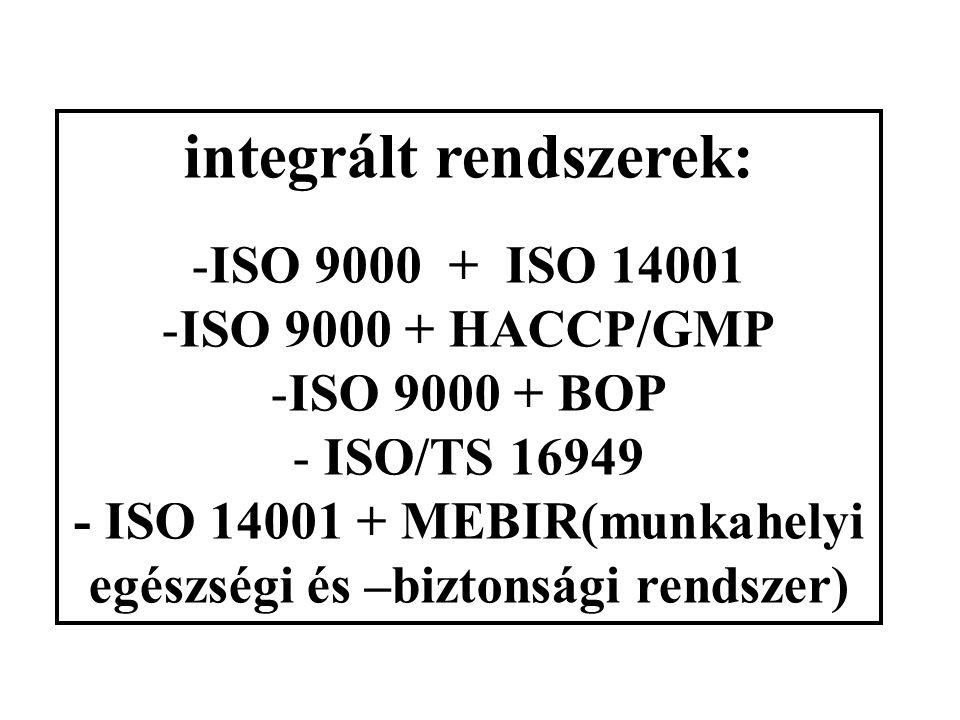 integrált rendszerek: -ISO 9000 + ISO 14001 -ISO 9000 + HACCP/GMP -ISO 9000 + BOP - ISO/TS 16949 - ISO 14001 + MEBIR(munkahelyi egészségi és –biztonsági rendszer)
