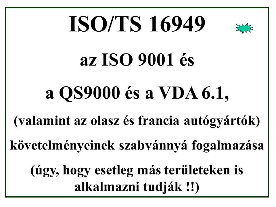 ISO/TS 16949 az ISO 9001 és a QS9000 és a VDA 6.1, (valamint az olasz és francia autógyártók) követelményeinek szabvánnyá fogalmazása (úgy, hogy esetleg más területeken is alkalmazni tudják !!)