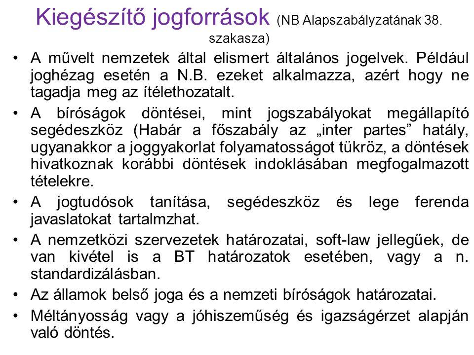 Kiegészítő jogforrások (NB Alapszabályzatának 38.