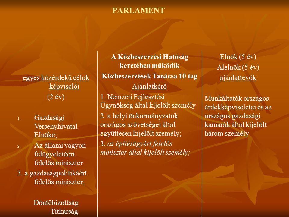 PARLAMENT egyes közérdekű célok képviselői (2 év) 1.