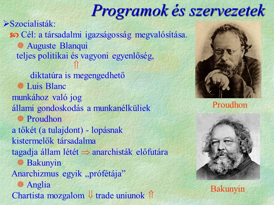 Programok és szervezetek  Szocialisták:  Cél: a társadalmi igazságosság megvalósítása.