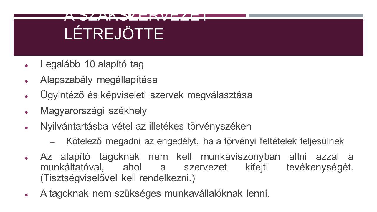 A SZAKSZERVEZET LÉTREJÖTTE Legalább 10 alapító tag Alapszabály megállapítása Ügyintéző és képviseleti szervek megválasztása Magyarországi székhely Nyilvántartásba vétel az illetékes törvényszéken – Kötelező megadni az engedélyt, ha a törvényi feltételek teljesülnek Az alapító tagoknak nem kell munkaviszonyban állni azzal a munkáltatóval, ahol a szervezet kifejti tevékenységét.