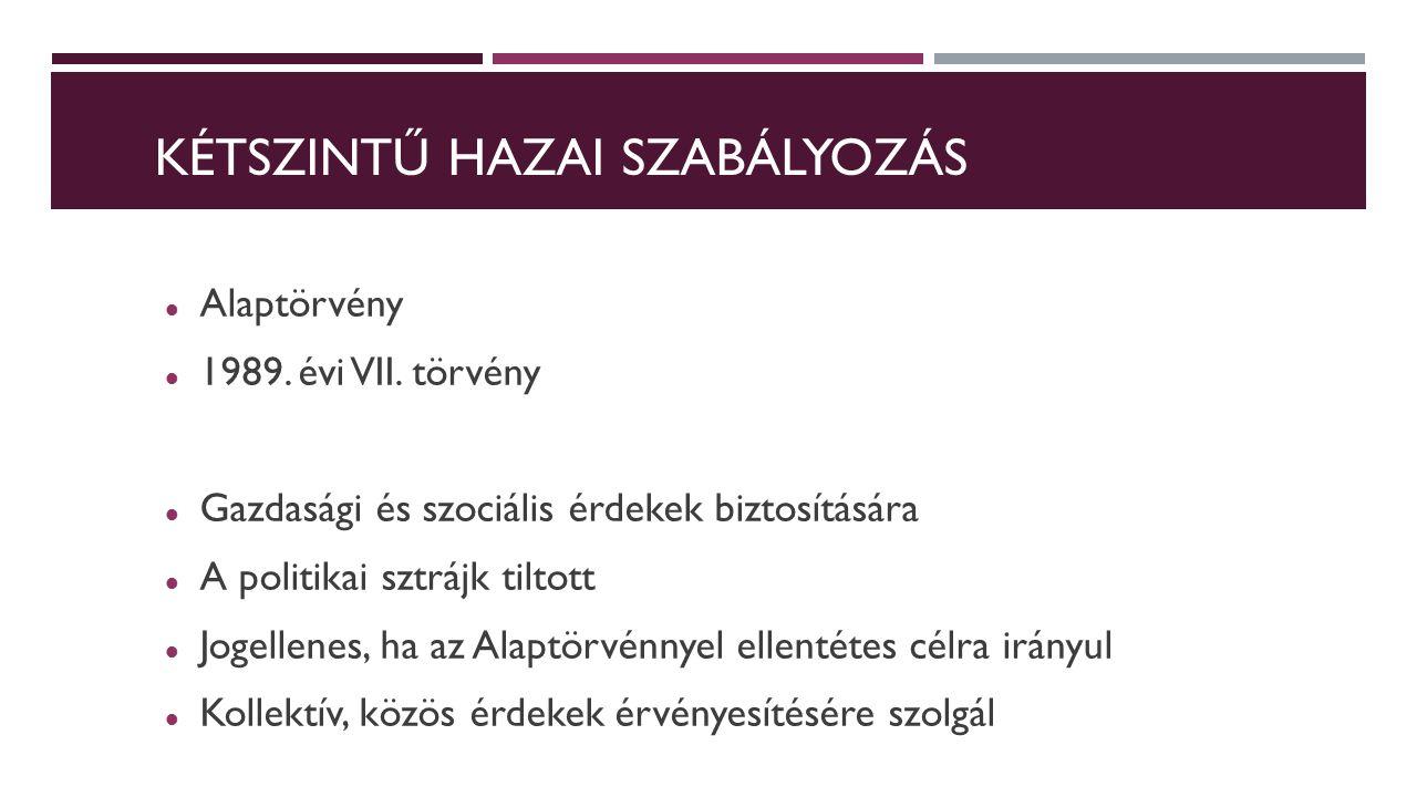 KÉTSZINTŰ HAZAI SZABÁLYOZÁS Alaptörvény 1989. évi VII.