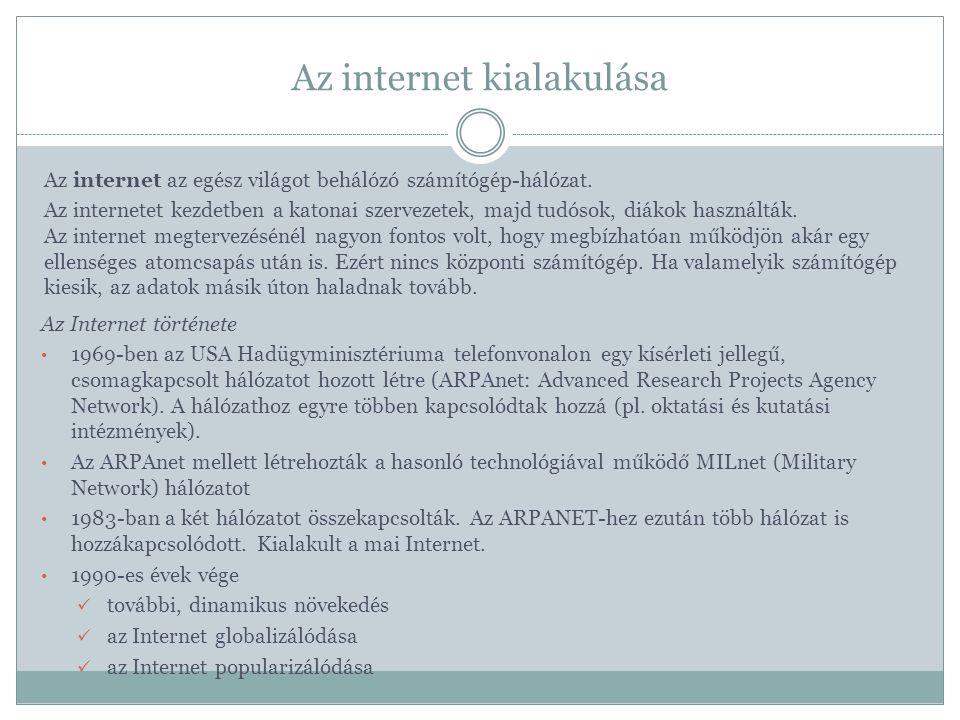 Az internet kialakulása Az internet az egész világot behálózó számítógép-hálózat.