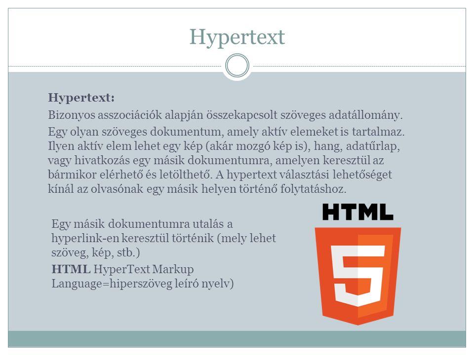 Hypertext Hypertext: Bizonyos asszociációk alapján összekapcsolt szöveges adatállomány.