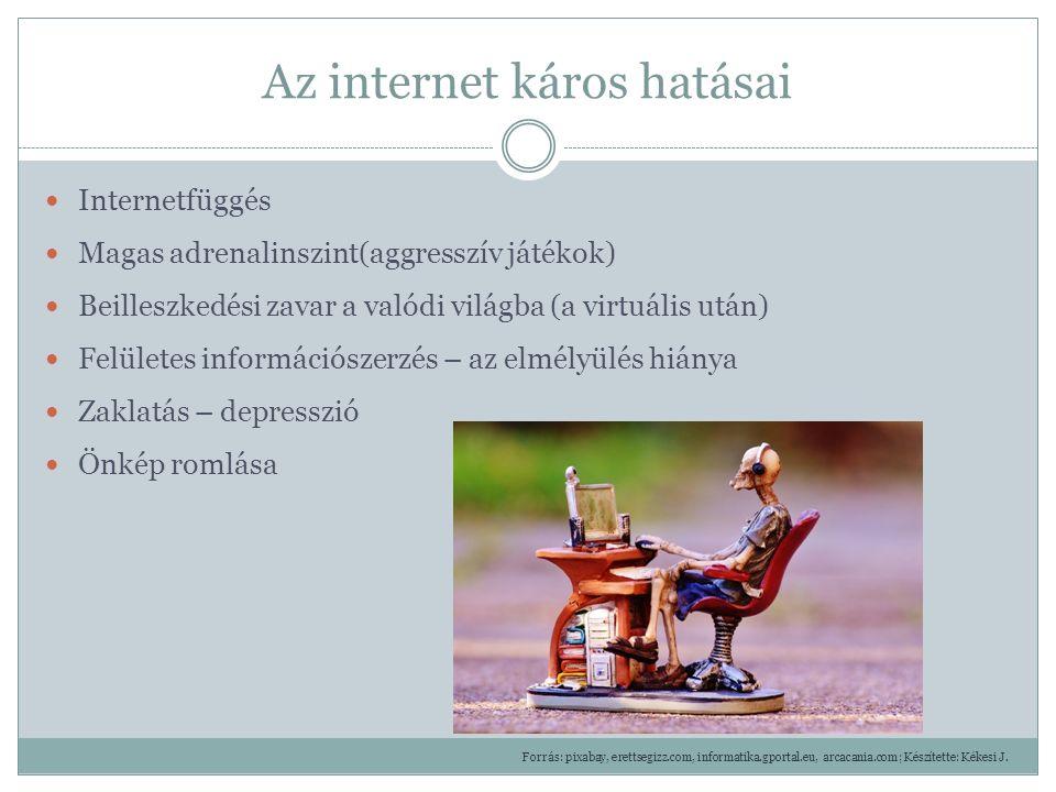 Az internet káros hatásai Internetfüggés Magas adrenalinszint(aggresszív játékok) Beilleszkedési zavar a valódi világba (a virtuális után) Felületes információszerzés – az elmélyülés hiánya Zaklatás – depresszió Önkép romlása Forrás: pixabay, erettsegizz.com, informatika.gportal.eu, arcacania.com; Készítette: Kékesi J.
