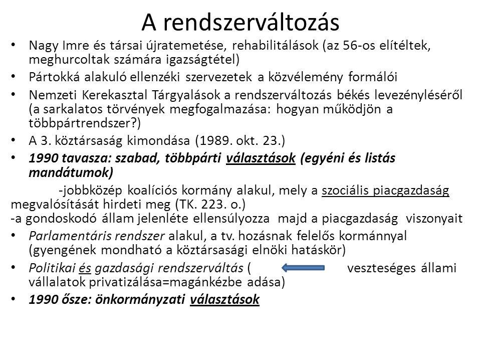 A rendszerváltozás Nagy Imre és társai újratemetése, rehabilitálások (az 56-os elítéltek, meghurcoltak számára igazságtétel) Pártokká alakuló ellenzéki szervezetek a közvélemény formálói Nemzeti Kerekasztal Tárgyalások a rendszerváltozás békés levezényléséről (a sarkalatos törvények megfogalmazása: hogyan működjön a többpártrendszer ) A 3.