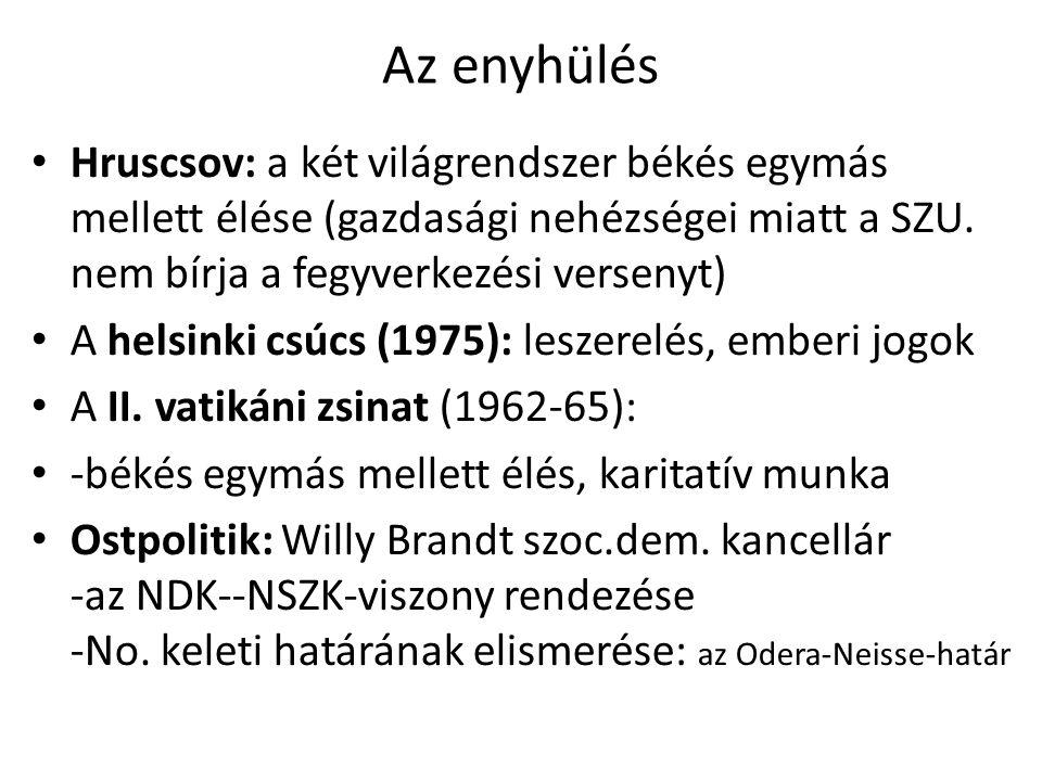 Az enyhülés Hruscsov: a két világrendszer békés egymás mellett élése (gazdasági nehézségei miatt a SZU. nem bírja a fegyverkezési versenyt) A helsinki