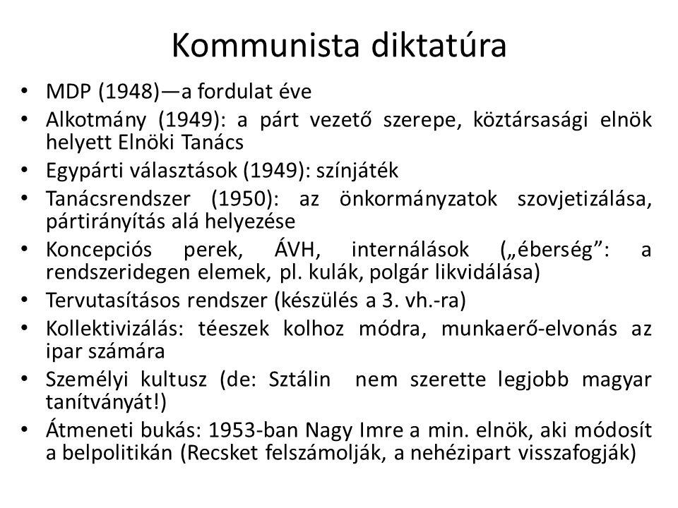 """Kommunista diktatúra MDP (1948)—a fordulat éve Alkotmány (1949): a párt vezető szerepe, köztársasági elnök helyett Elnöki Tanács Egypárti választások (1949): színjáték Tanácsrendszer (1950): az önkormányzatok szovjetizálása, pártirányítás alá helyezése Koncepciós perek, ÁVH, internálások (""""éberség : a rendszeridegen elemek, pl."""