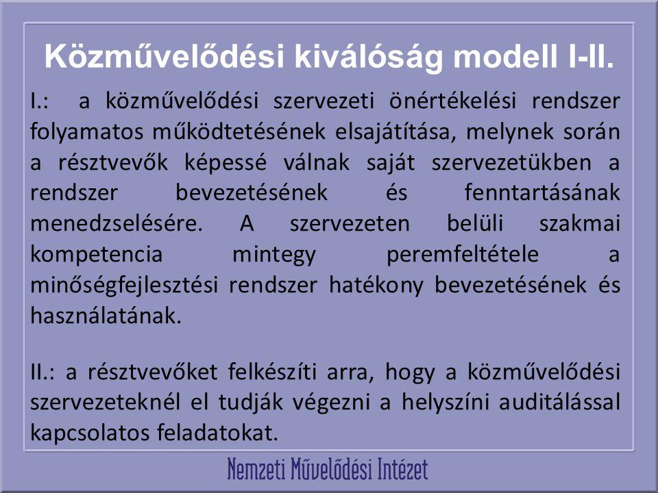 Közművelődési kiválóság modell I-II. I.: a közművelődési szervezeti önértékelési rendszer folyamatos működtetésének elsajátítása, melynek során a rész