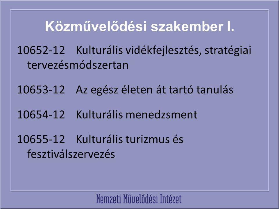 Közművelődési szakember I. 10652-12 Kulturális vidékfejlesztés, stratégiai tervezésmódszertan 10653-12 Az egész életen át tartó tanulás 10654-12 Kultu