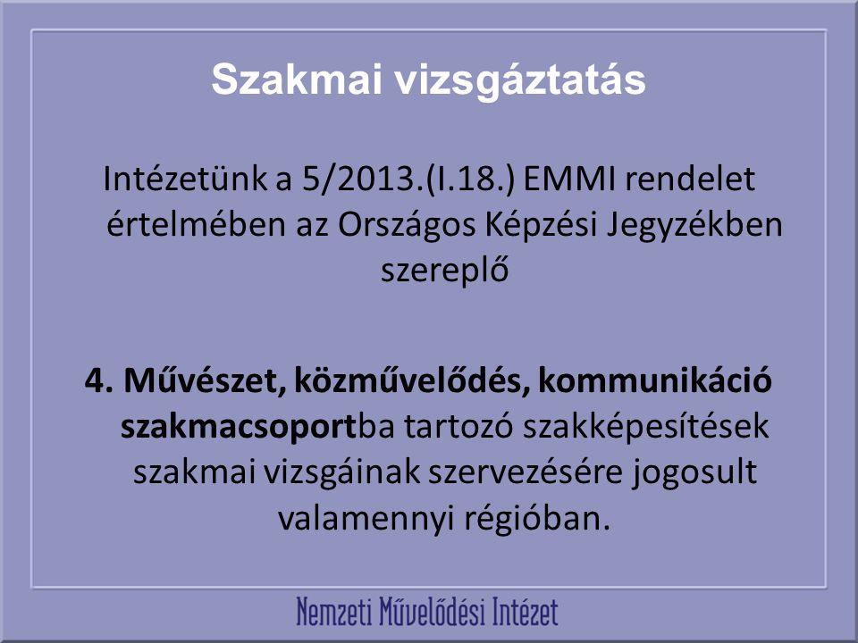 Szakmai vizsgáztatás Intézetünk a 5/2013.(I.18.) EMMI rendelet értelmében az Országos Képzési Jegyzékben szereplő 4.