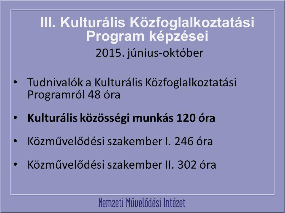 III. Kulturális Közfoglalkoztatási Program képzései 2015. június-október Tudnivalók a Kulturális Közfoglalkoztatási Programról 48 óra Kulturális közös
