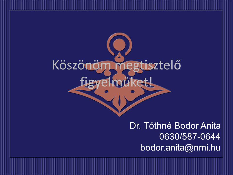 Dr. Tóthné Bodor Anita 0630/587-0644 bodor.anita@nmi.hu Köszönöm megtisztelő figyelmüket!