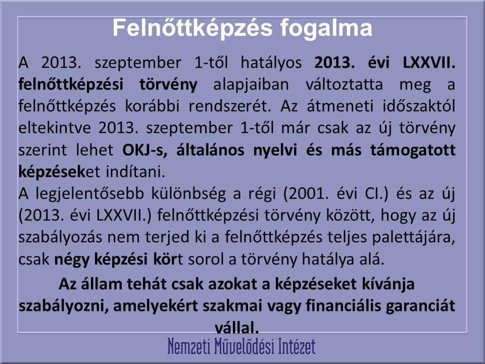 Felnőttképzés fogalma A 2013. szeptember 1-től hatályos 2013.