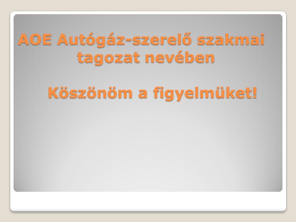 AOE Autógáz-szerelő szakmai tagozat nevében Köszönöm a figyelmüket!