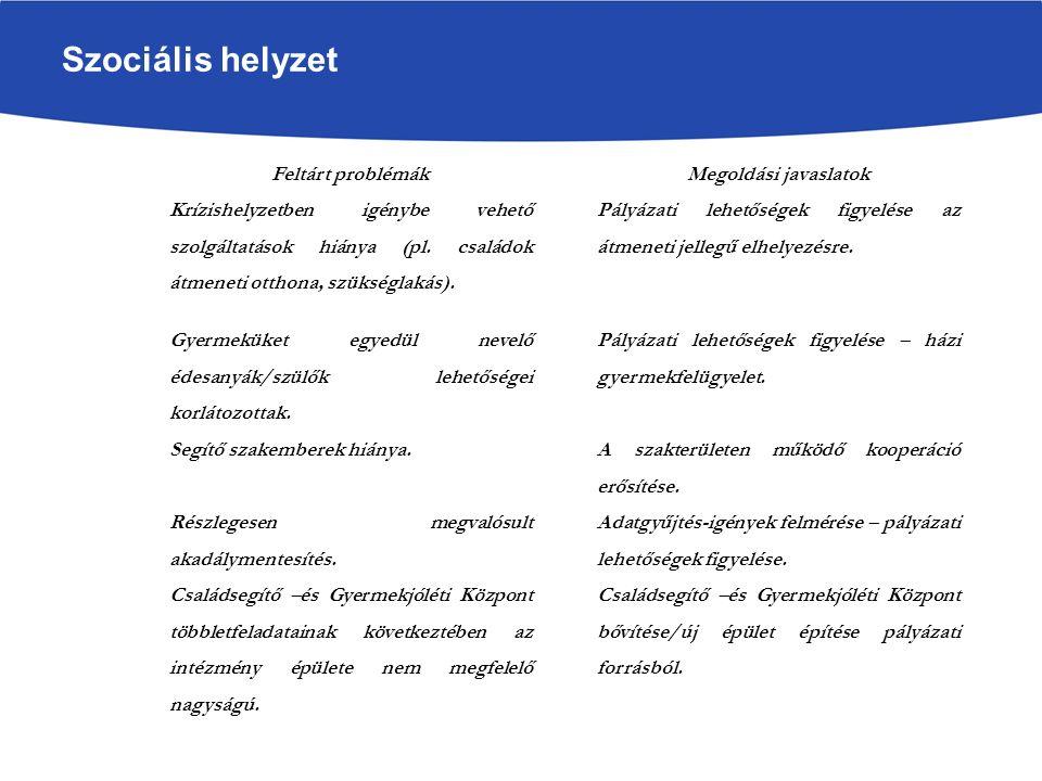 Szociális helyzet Feltárt problémákMegoldási javaslatok Krízishelyzetben igénybe vehető szolgáltatások hiánya (pl.