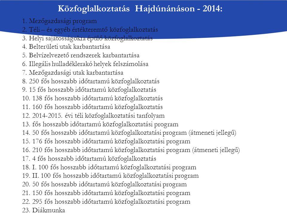 Közfoglalkoztatás Hajdúnánáson - 2014: 1. Mezőgazdasági program 2. Téli – és egyéb értékteremtő közfoglalkoztatás 3. Helyi sajátosságokra épülő közfog