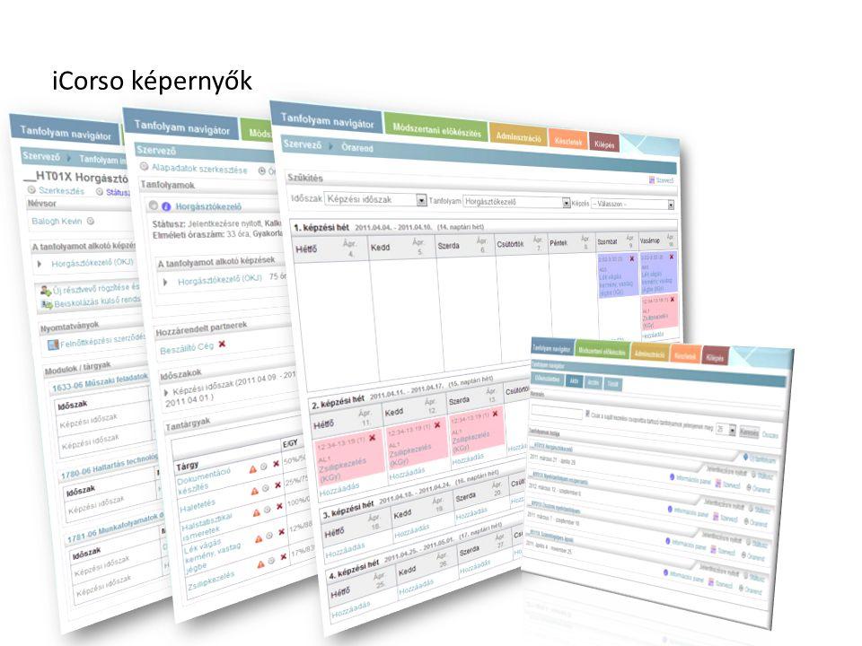 iCorso képernyők