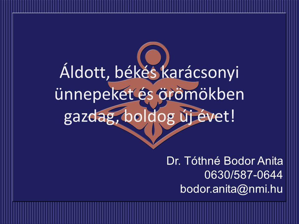 Dr. Tóthné Bodor Anita 0630/587-0644 bodor.anita@nmi.hu Áldott, békés karácsonyi ünnepeket és örömökben gazdag, boldog új évet!