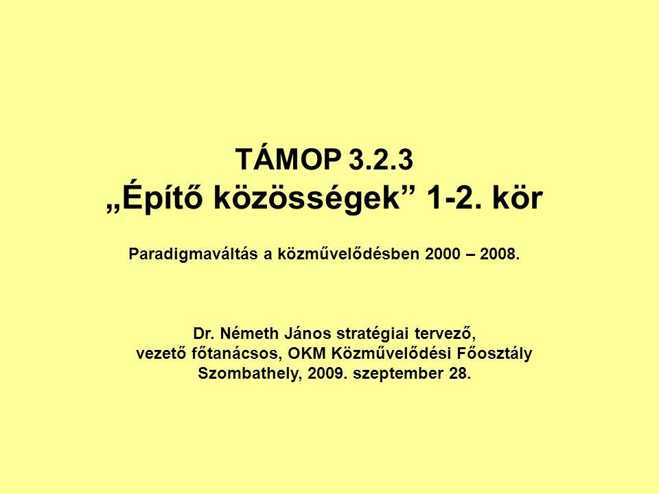"""TÁMOP 3.2.3 """"Építő közösségek 1-2. kör Paradigmaváltás a közművelődésben 2000 – 2008."""