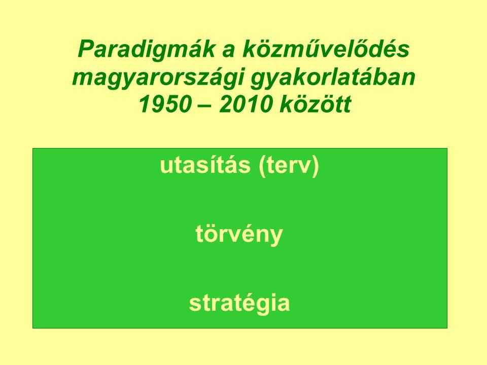 Paradigmák a közművelődés magyarországi gyakorlatában 1950 – 2010 között utasítás (terv) törvény stratégia