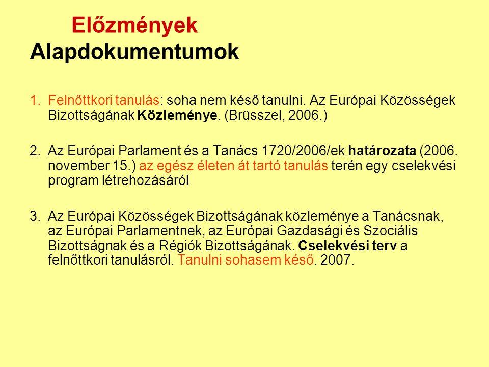 A MAGYAR KÖZTÁRSASÁG KORMÁNYÁNAK STRATÉGIÁJA AZ EGÉSZ ÉLETEN ÁT TARTÓ TANULÁSRÓL (2005.) a kormány meghatározta az emberi erőforrás fejlesztésének irányait az Európai Unió tervezésével összhangban a 2007-2013 közötti időszakra az LLL alrendszereinek és módszereinek definiálása (közművelődés, felnőttképzés, közösségi tájékoztatás - felnőttkori tanulás, új tanulási formák: nonformális, informálist tanulás)