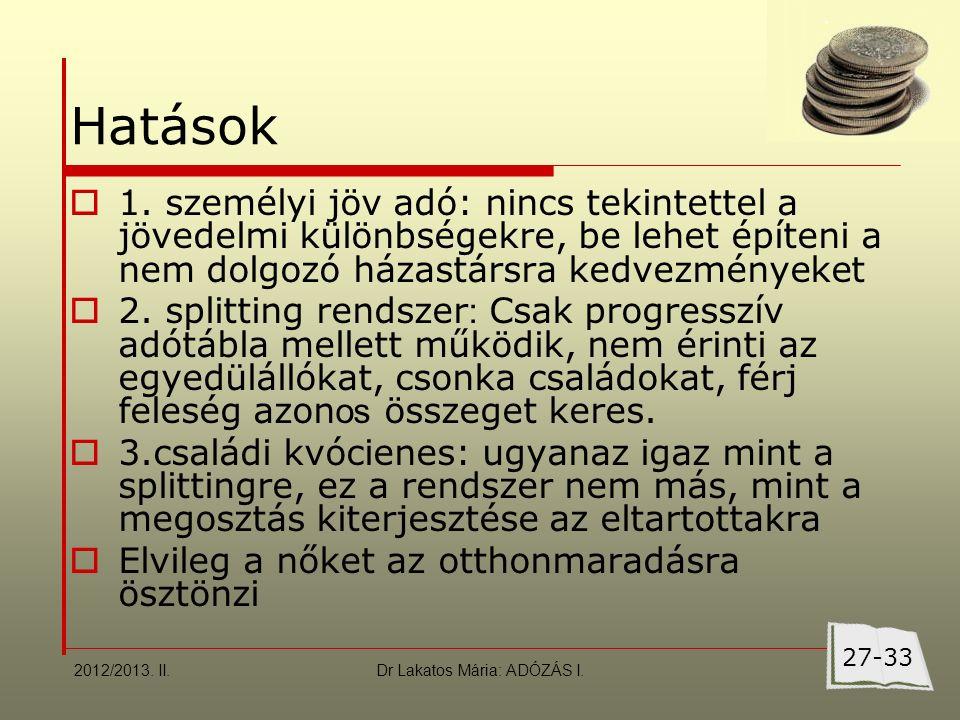 Dr Lakatos Mária: ADÓZÁS I. Hatások  1.