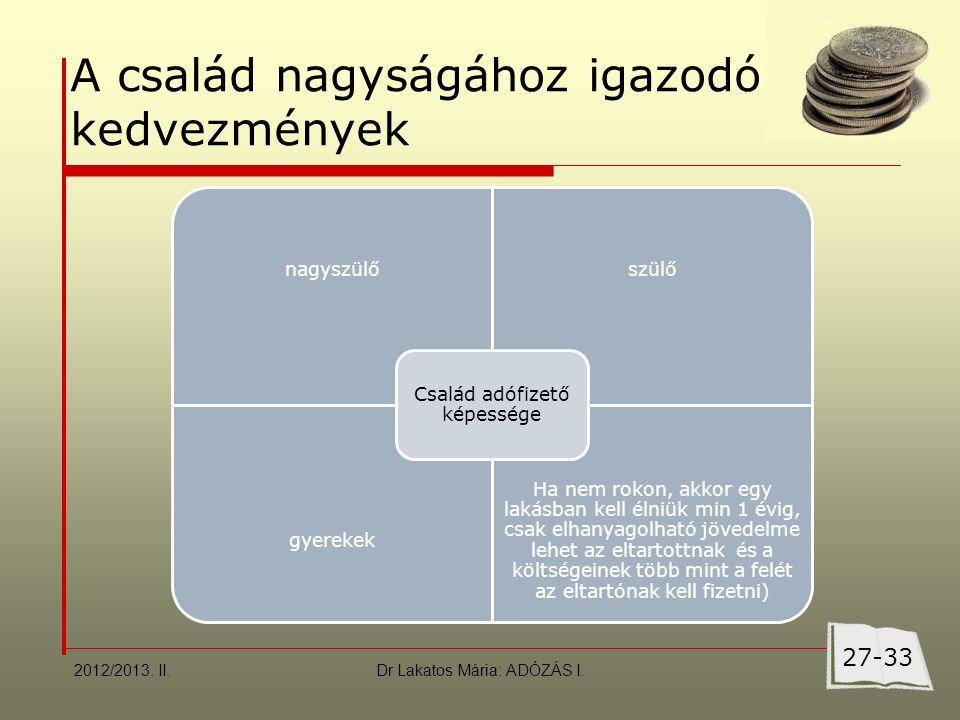 Dr Lakatos Mária: ADÓZÁS I. A család nagyságához igazodó kedvezmények 2012/2013.