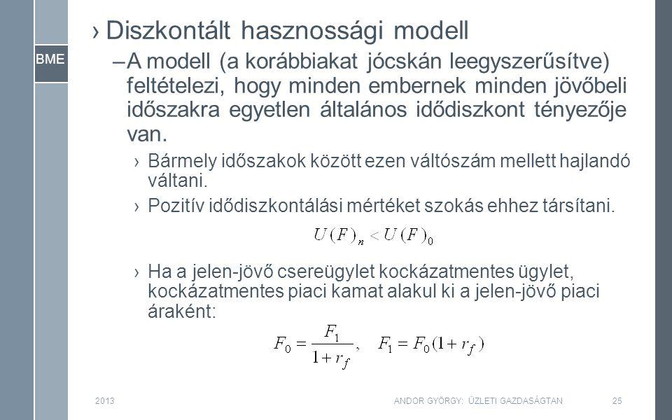BME ›Diszkontált hasznossági modell –A modell (a korábbiakat jócskán leegyszerűsítve) feltételezi, hogy minden embernek minden jövőbeli időszakra egyetlen általános idődiszkont tényezője van.