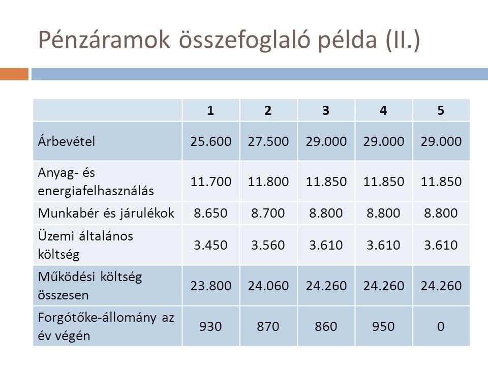 Pénzáramok összefoglaló példa (II.) 12345 Árbevétel25.60027.50029.000 Anyag- és energiafelhasználás 11.70011.80011.850 Munkabér és járulékok8.6508.7008.800 Üzemi általános költség 3.4503.5603.610 Működési költség összesen 23.80024.06024.260 Forgótőke-állomány az év végén 9308708609500