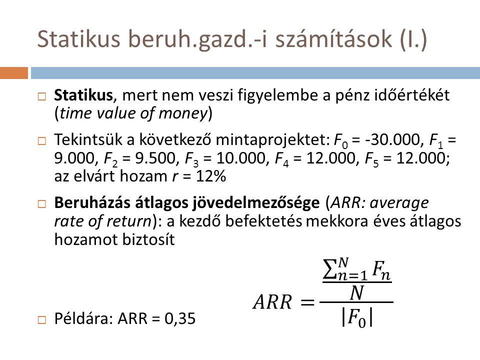Statikus beruh.gazd.-i számítások (I.)  Statikus, mert nem veszi figyelembe a pénz időértékét (time value of money)  Tekintsük a következő mintaprojektet: F 0 = -30.000, F 1 = 9.000, F 2 = 9.500, F 3 = 10.000, F 4 = 12.000, F 5 = 12.000; az elvárt hozam r = 12%  Beruházás átlagos jövedelmezősége (ARR: average rate of return): a kezdő befektetés mekkora éves átlagos hozamot biztosít  Példára: ARR = 0,35