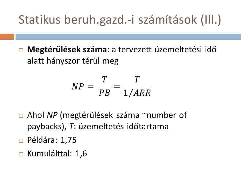 Statikus beruh.gazd.-i számítások (III.)  Megtérülések száma: a tervezett üzemeltetési idő alatt hányszor térül meg  Ahol NP (megtérülések száma ~number of paybacks), T: üzemeltetés időtartama  Példára: 1,75  Kumulálttal: 1,6